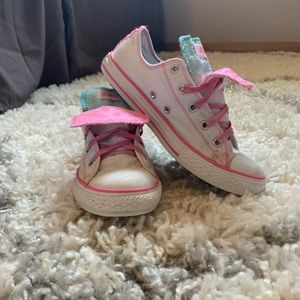 Cotton Candy Pink White Converse Double Tongue